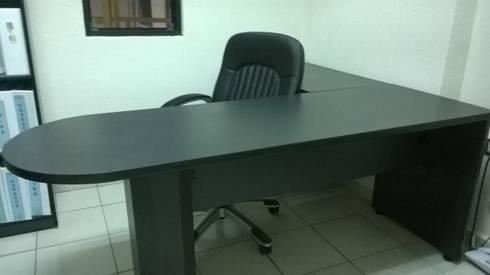 Ya instalado escritorio: Oficinas y tiendas de estilo  por Muebles Modernos para Oficina, S.A.