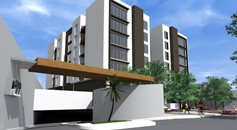 Edificio AZ22: Casas de estilo moderno por ARQUITECTO ALEJANDRO ORTIZ
