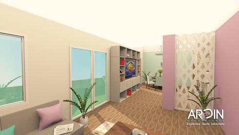 CENTRO DE ENTRETENIMIENTO : Salas multimedia de estilo industrial por ARDIN INTERIORISMO
