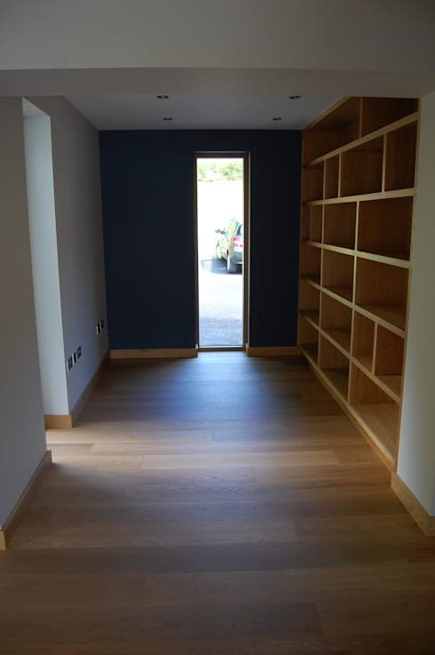 Study & oak shelves built into former carport.:  Study/office by Matheson Mackenzie Ross Architects