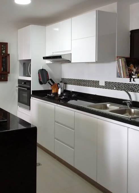 Mueble principal de lavado y cocción: Cocinas de estilo moderno por Remodelar Proyectos Integrales