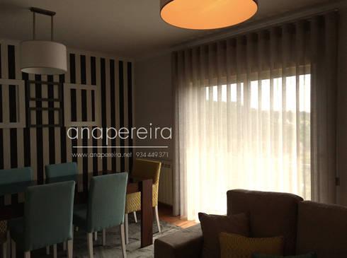CASA DE FÉRIAS – VISEU: Sala de jantar  por Atelier Ana Pereira Arquitetura e Decoração de Interiores