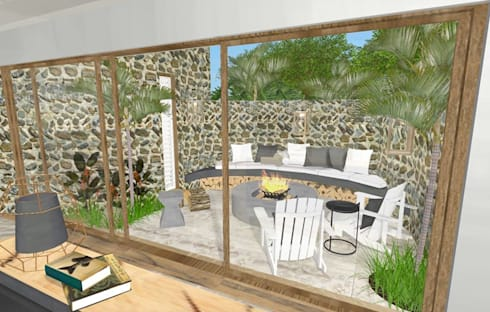 outdoor fire pit area:  Hotels by Kirsty Badenhorst Interiors