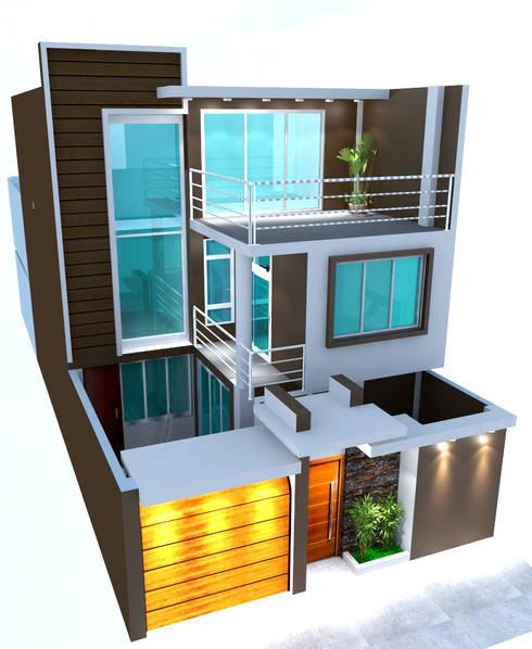REMODELACION Y AMPLIACION - VIVIENDA UNIFAMILIAR CHIMBOTE: Casas de estilo moderno por BIANGULO DISEÑO Y CONSTRUCCION S.A.C.