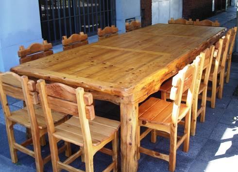 Mesas de madera maciza de enrique ramirez muebles for Mesas y sillas rusticas