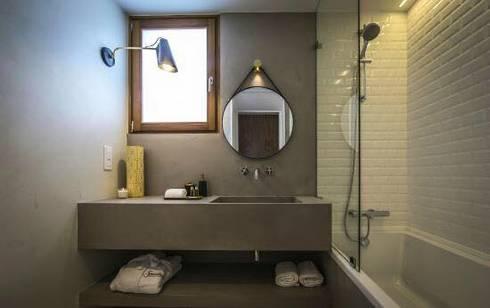Parede e Bancada em Microcimento: Hotéis  por 4Udecor Microcimento