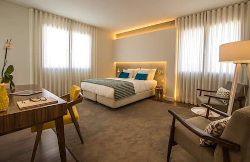 Parede de Quarto em Microcimento: Hotéis  por 4Udecor Microcimento