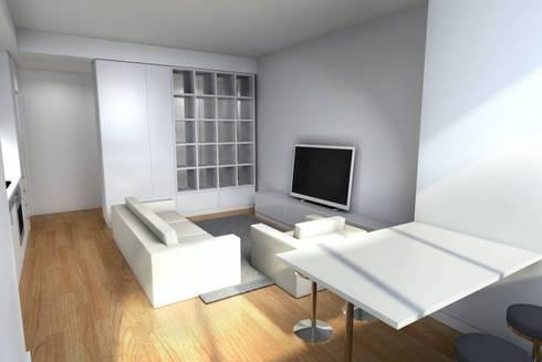 Remodelação de Apartamento: Salas de estar modernas por Zaida Amorim & Maria Luis, Lda