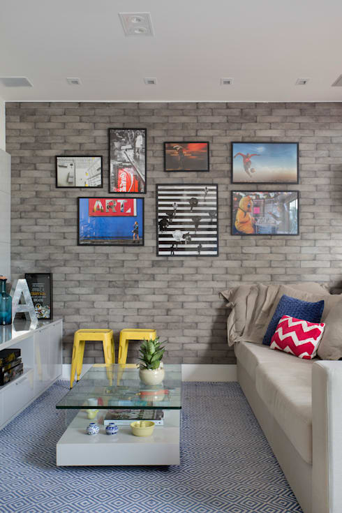 Salas de estar  por Amanda Miranda Arquitetura