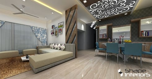 Living hall main view:   by Shape Interiors