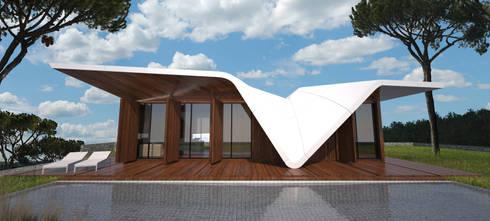 PT - Vista Piscina EN - Swimming Pool View: Casas modernas por Office of Feeling Architecture, Lda