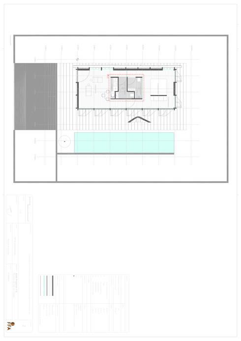 PT - Planta Rés do Chão EN - Swimming Ground floor  Plan: Casas modernas por Office of Feeling Architecture, Lda