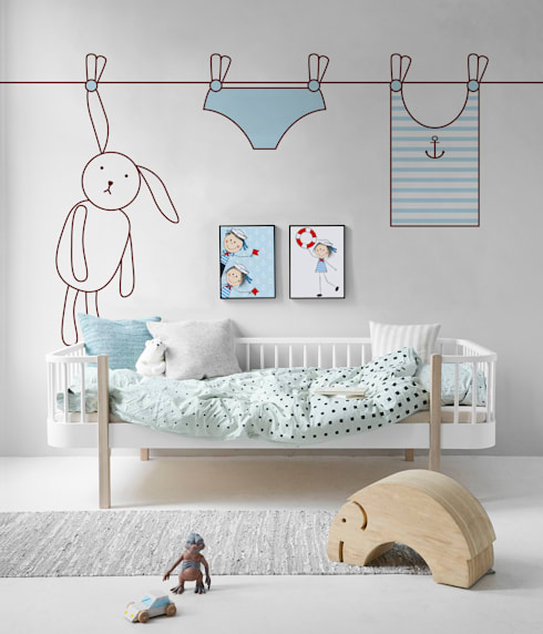 Rabbit and the laundry:  Nursery/kid's room by Pixers