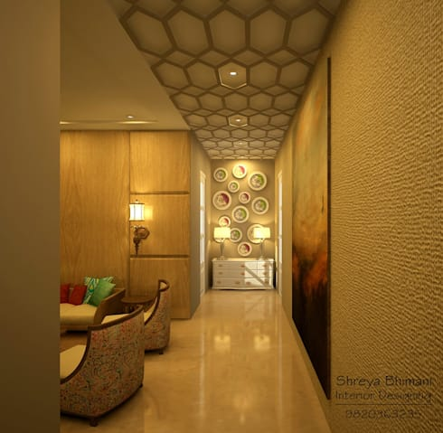 Entrance Lobby:  Corridor & hallway by Shreya Bhimani Designs