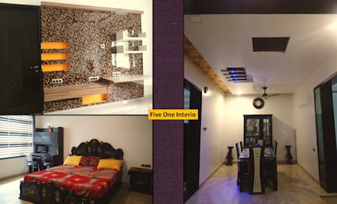 MODERN STYLE HOME AT KANPUR: asian Bedroom by Five One Interio