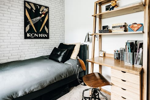 Industrial Bedroom: industrial Bedroom by Katie Malik Interiors