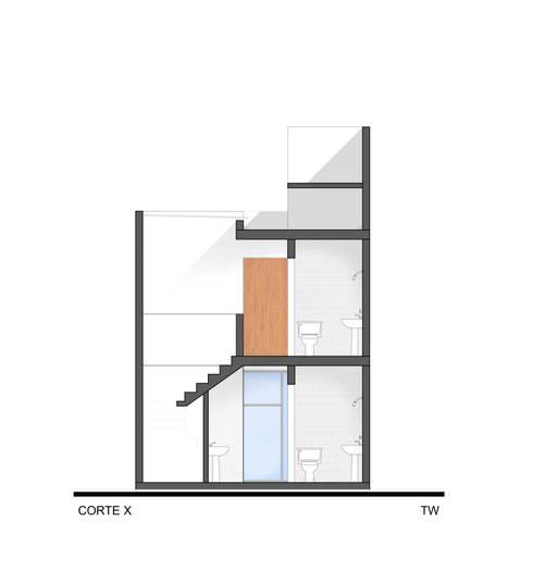 Corte de circulación vertical: Hoteles de estilo  por ODRACIR