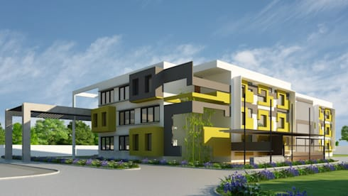 Jain school @ Hindupur: modern Study/office by Icarus Architects