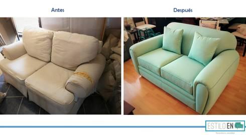 Comparación antes y después de sillón Love Seat:  de estilo  por Estilo en muebles