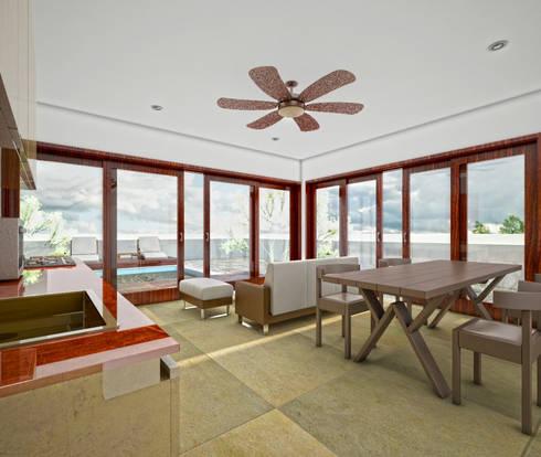 CASA CH-1: Comedores de estilo moderno por MUTAR Arquitectura