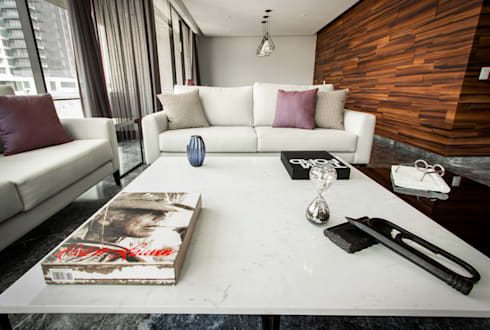 Departamento ML: Salas de estilo moderno por Concepto Taller de Arquitectura
