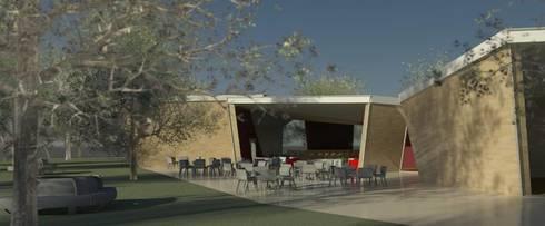 Restaurante e Bar - exterior 2: Espaços de restauração  por Atelier 12
