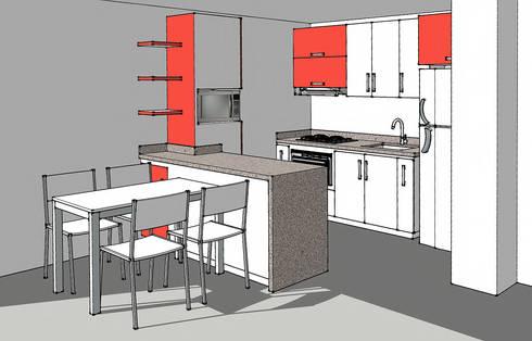 Render cocina integral: Cocinas de estilo moderno por Remodelar Proyectos Integrales