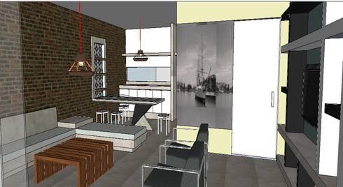 Edificio Bifamiliar Pon - Sala y Comedor: Salas / recibidores de estilo ecléctico por 1en1arquitectos