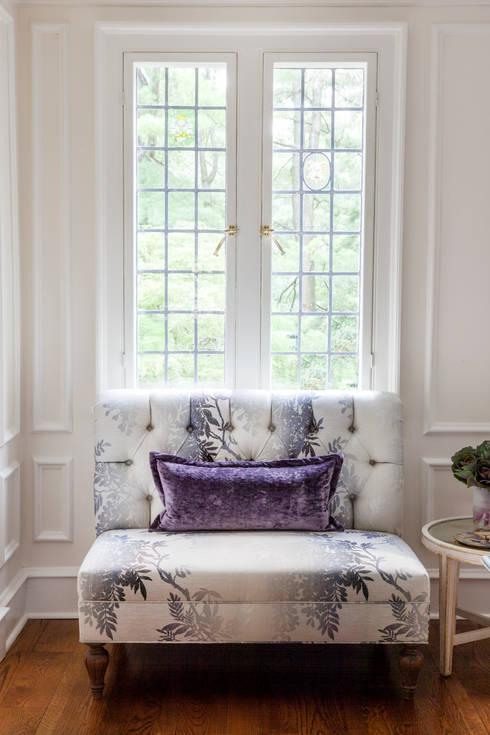custom settee with velvet pillow : classic Dining room by Mel McDaniel Design
