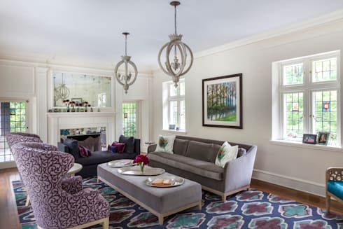 Living Room sophisticated and colorful : classic Living room by Mel McDaniel Design