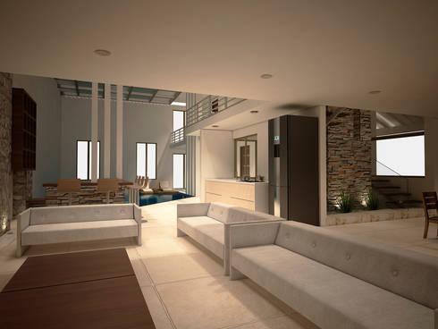 Casa-Club 001: Salas de estilo moderno por Jeost Arquitectura