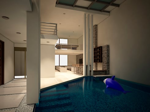 Casa-Club 001: Albercas de estilo moderno por Jeost Arquitectura