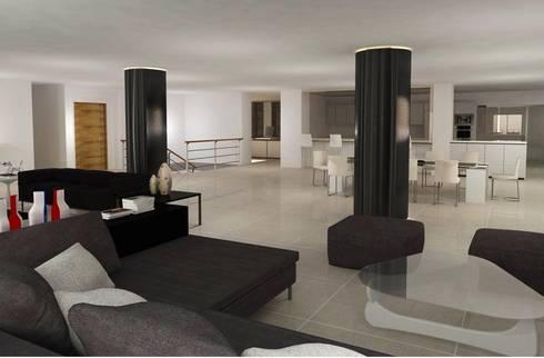 Santorini : Salas de estilo moderno por COLECTIVO CREATIVO