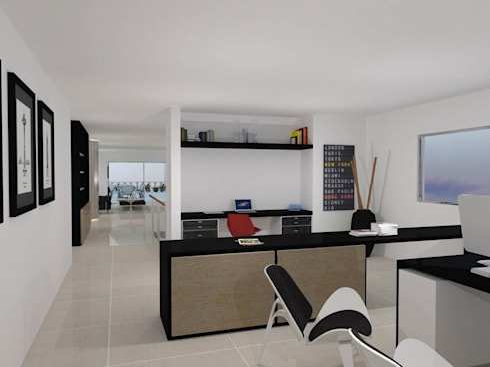 Santorini : Estudios y despachos de estilo moderno por COLECTIVO CREATIVO