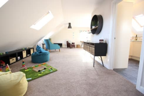 THE OLD BREWERY SHOWHOMES: modern Living room by Interiors at Nine to Eleven