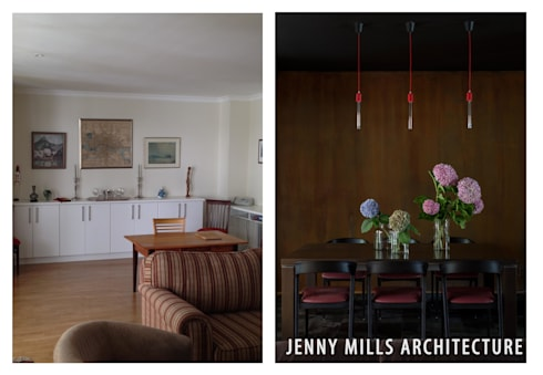 Dining Room area - Before and After: modern Dining room by Jenny Mills Architects