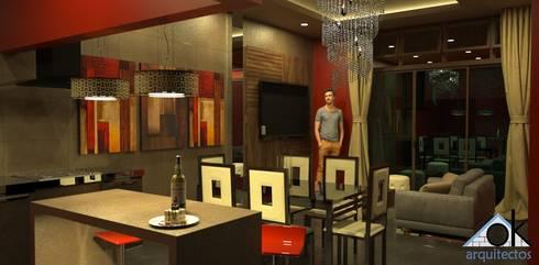Proyecto de vivienda alquiler: Comedores de estilo moderno por Okarq