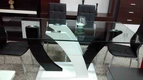 Mesa de vidrio templado x y 6 sillas base for Vidrio templado mesa
