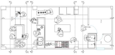 Distribución de espacios: Espacios comerciales de estilo  por Loft 5101 F.P.