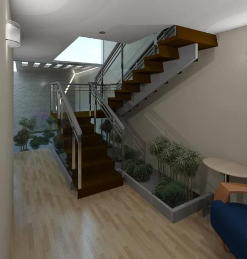 Detalle de la escalera y jardín zen: Pasillos y vestíbulos de estilo  por Diseño Store