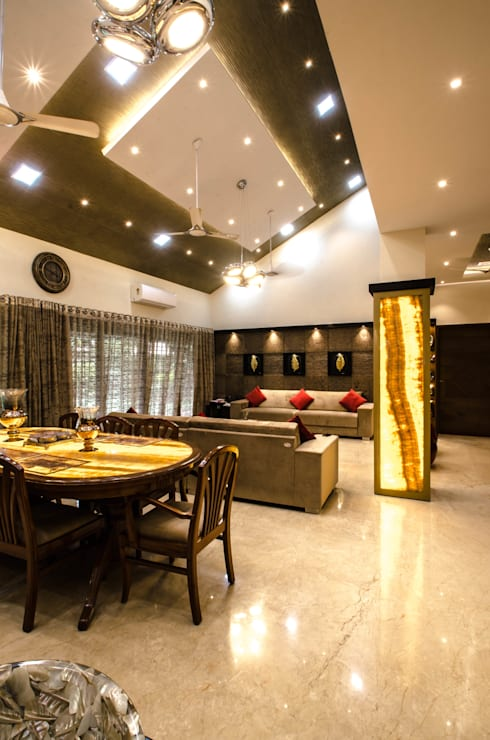 Villa Interior : modern Dining room by Maulik Vyas Architects