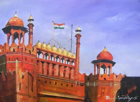 Red fort, Delhi :  Artwork by Indian Art Ideas