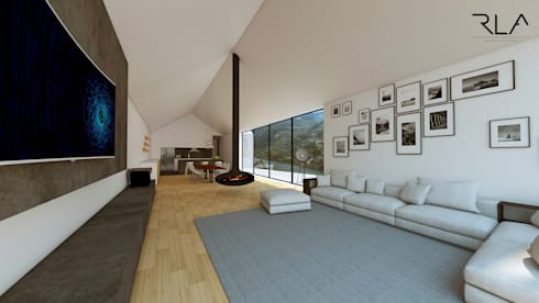 Living Room/Kitchen:   por RLA | RICHARD LOUREIRO ARCHITECTS