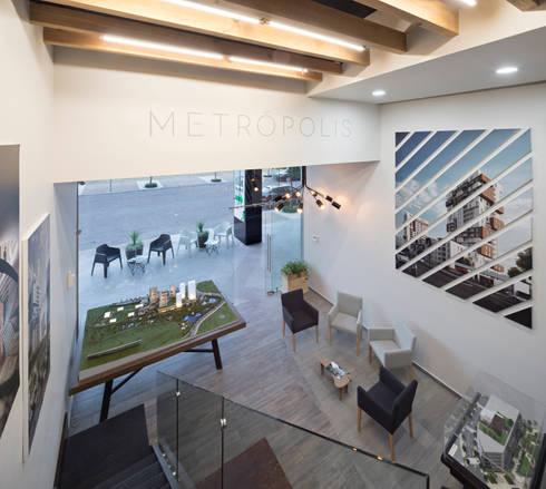 Showroom Punta Cascatta: Oficinas y tiendas de estilo  por MX Taller de Arquitectura & Diseño