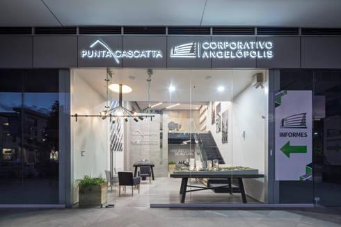 Showroom Punta Cascatta - Fachada: Oficinas y tiendas de estilo  por MX Taller de Arquitectura & Diseño