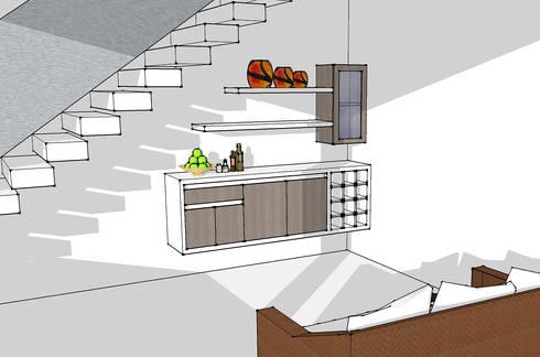 Mueble de Bar bajo escalera: Salas multimedia de estilo moderno por Remodelar Proyectos Integrales