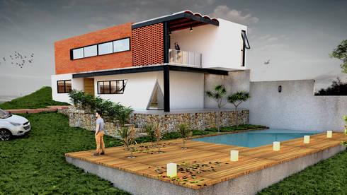 Perspectiva exterior: Casas de estilo moderno por Vintark arquitectura