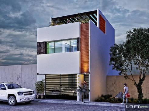 Fachada: Casas de estilo moderno por LOFT ESTUDIO arquitectura y diseño