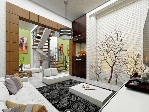 Estancia: Salas de estilo moderno por LOFT ESTUDIO arquitectura y diseño