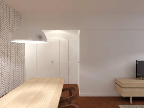 Casa da Margarida: Corredores, halls e escadas escandinavos por Homestories